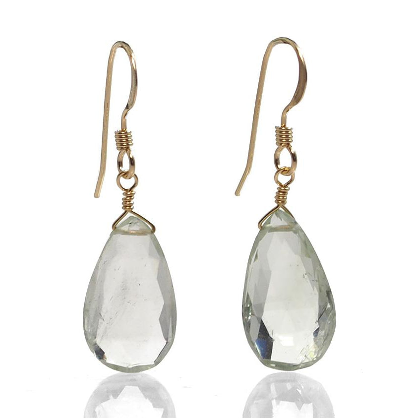 Green Amethyst Earrings with Gold Filled French Ear Wires