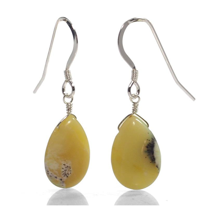 Yellow Opal Earrings With Sterling Silver French Ear Wires