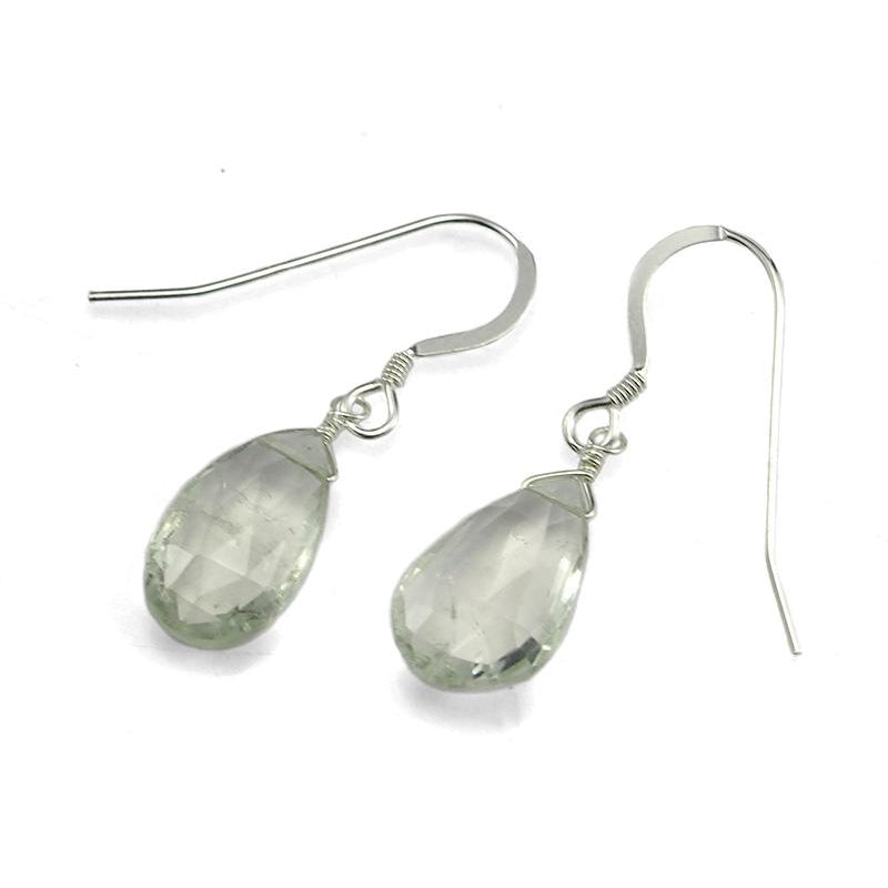 Green Amethyst Earrings with Sterling Silver French Ear Wires 2
