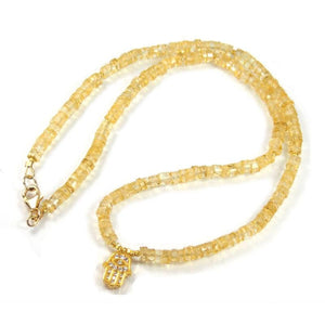 Citrine Necklace with Gold Filled Trigger Clasp, Gold Plated Hamsa Charm