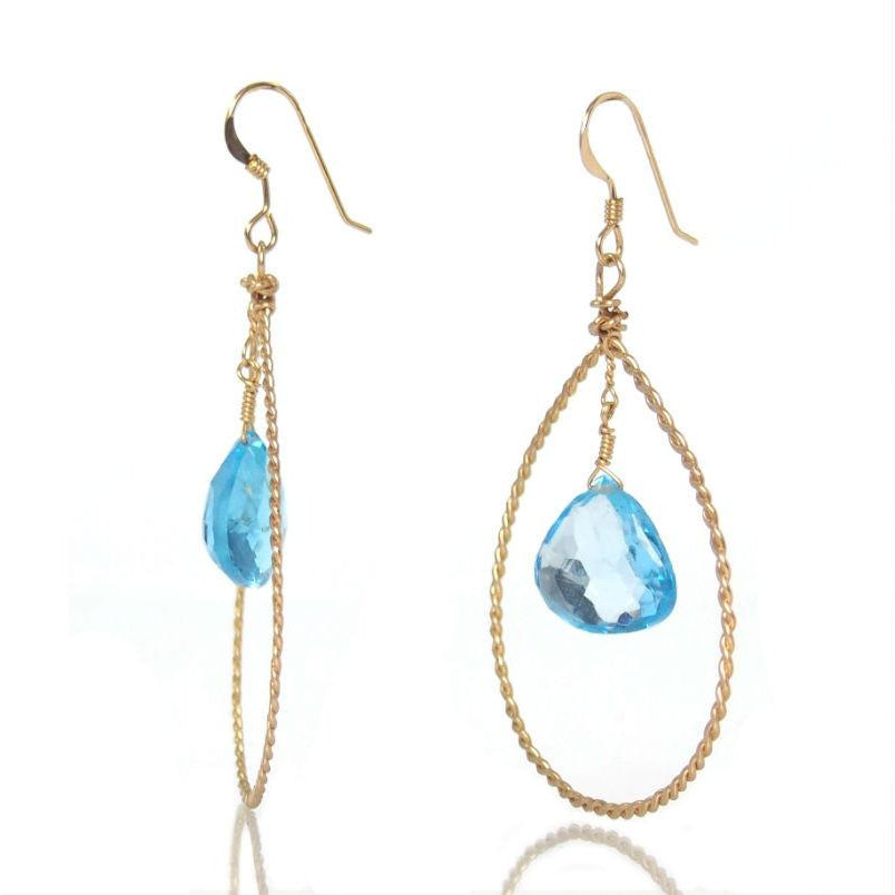Blue Topaz Earrings with Gold Filled French Wires