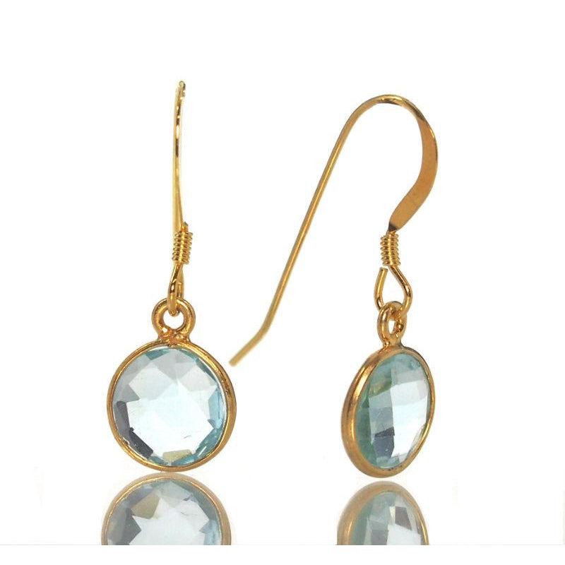 Blue Topaz Earrings with Gold Plated French Wires