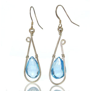 Blue Topaz Earrings with Sterling Silver French Ear Wires
