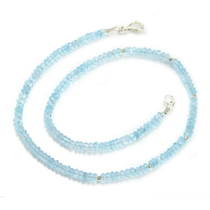 Blue Topaz Necklace with Sterling Silver Trigger Clasp