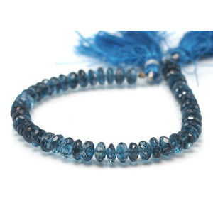 Topaz London Blue Faceted Rondelles 6-7mm Strand