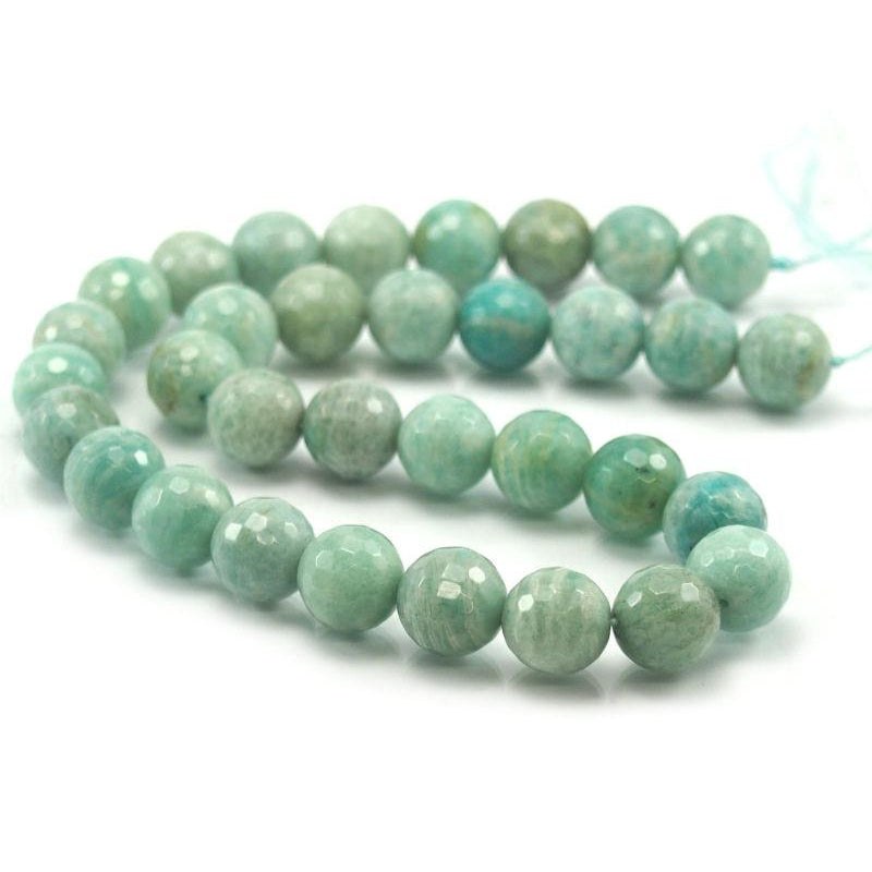 Brazilian Amazonite Faceted Rounds 12mm Strand