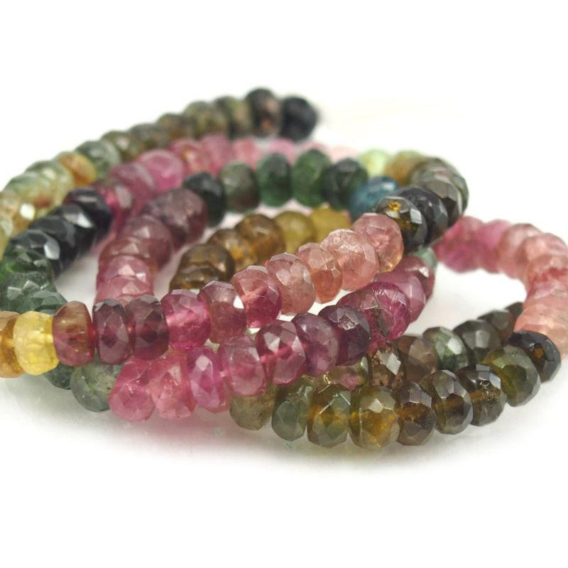 Multi Color Tourmaline Faceted Rondelles 5mm