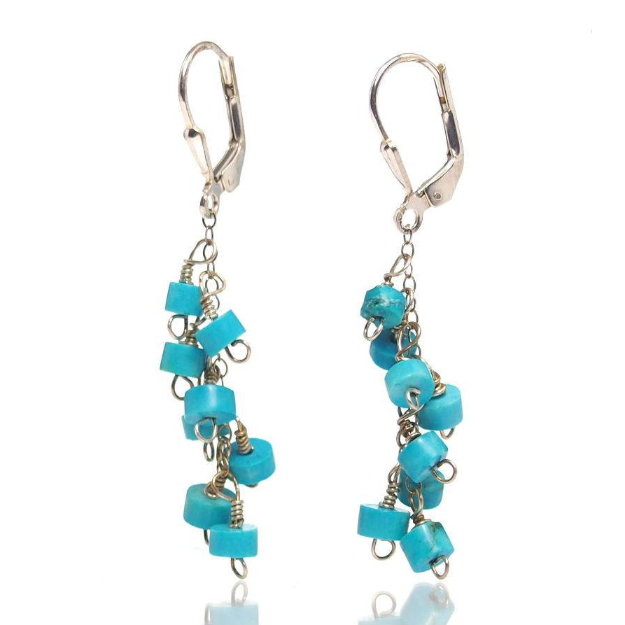 Turquoise Earrings With Sterling Silver Latch Back Ear