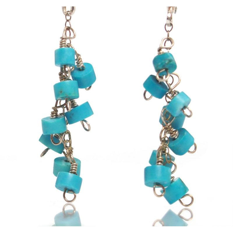 Turquoise Earrings with Sterling Silver Latch Back Ear Wires