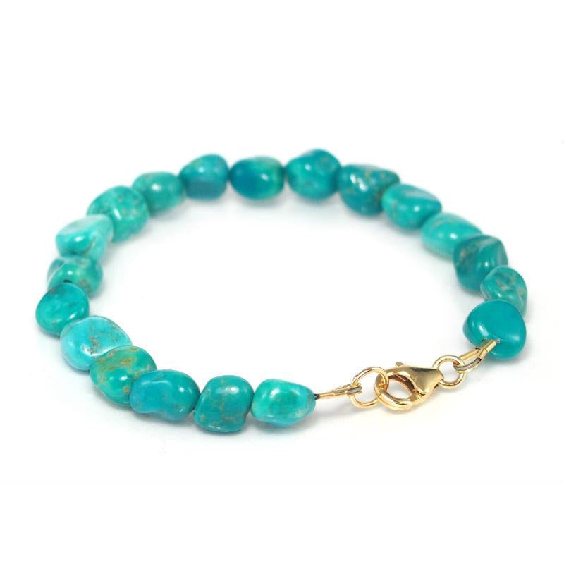 Turquoise (Sleeping Beauty) Bracelet with Gold Filled Trigger Clasp