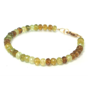 Green Garnet Bracelet with Gold Filled Lobster Clasp
