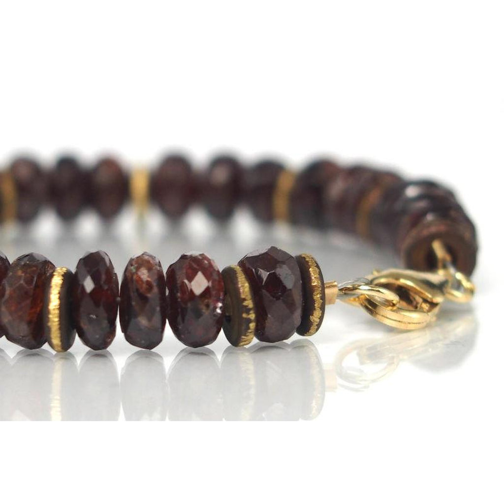 Garnet Bracelet with Gold Filled Trigger Clasp