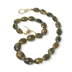 Green Garnet Necklace with Gold Plated Toggle Clasp