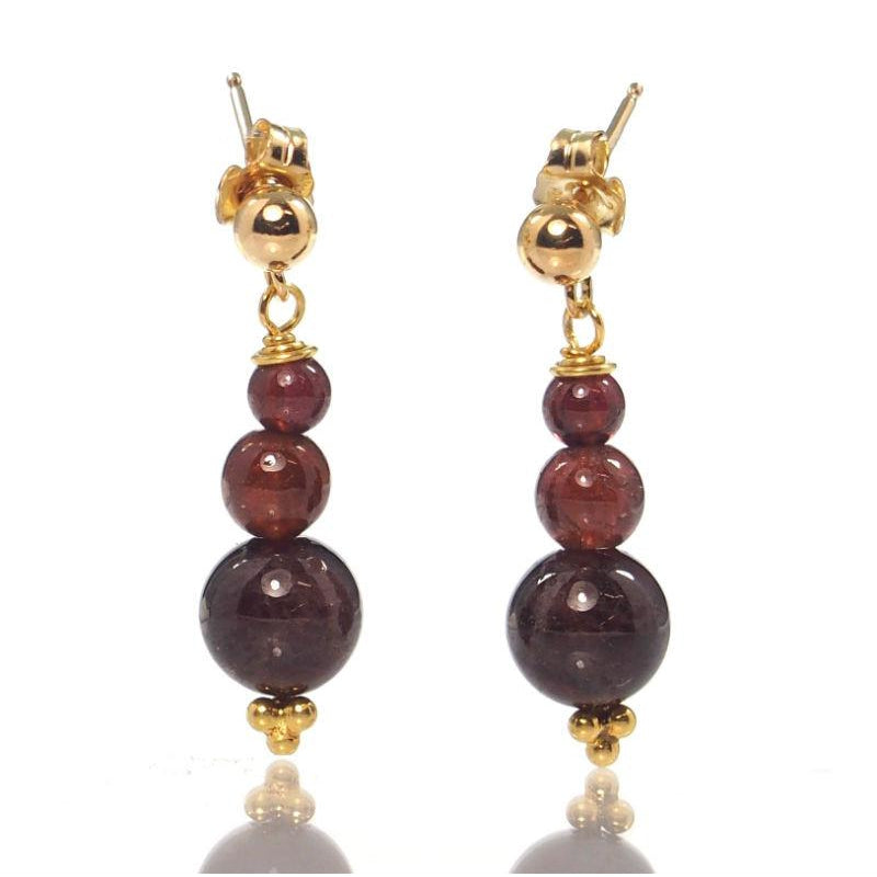 Garnet Earrings with Gold Filled Post Ear Wires