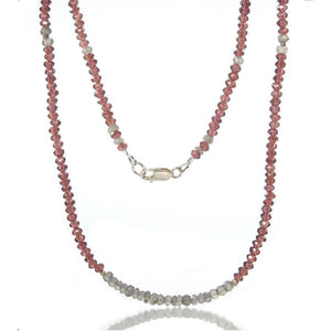 Garnet and Labradorite Necklace with Sterling Silver Lobster Clasp