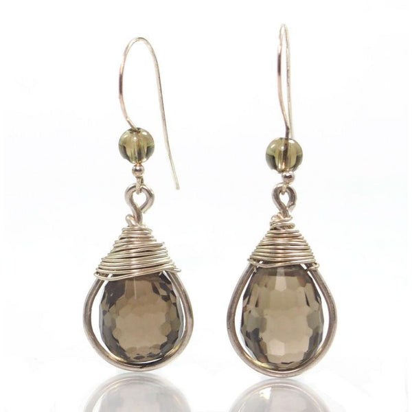 Smokey Quartz Earrings with Sterling Silver French Ear Wires