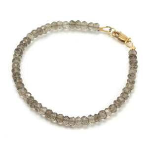 Smokey Quartz Bracelet with Gold Filled Lobster Clasp
