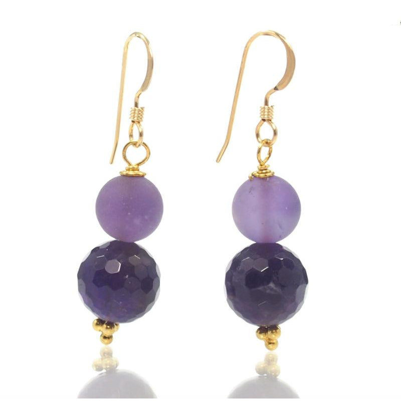 Amethyst Earrings with Gold Filled French Ear Wires