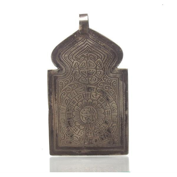 Rare Louha Hamsa with Blossoming Flowers and Magic Circles Amulet