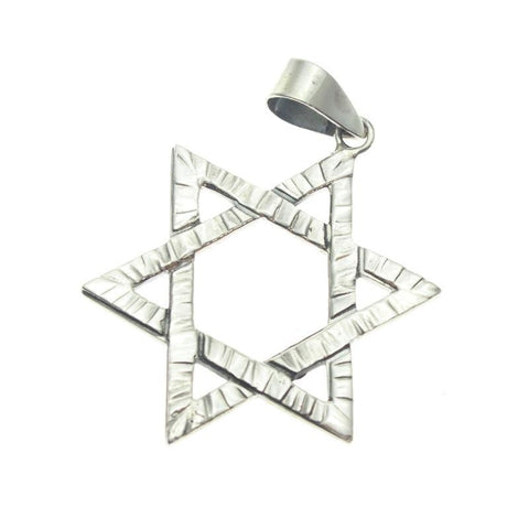 Sterling Silver Etched Star of David Pendant