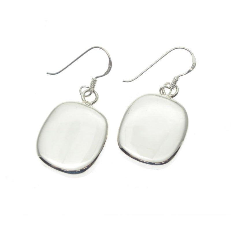 Sterling Silver Flattened Circle Earrings