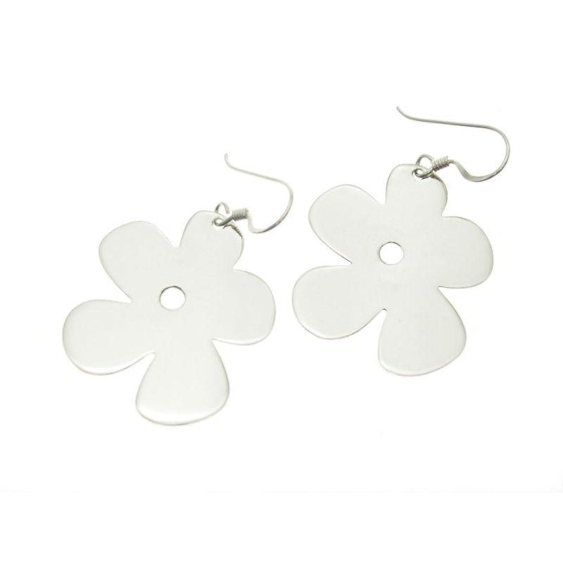 Sterling Silver Daisy Cut-Out Earrings