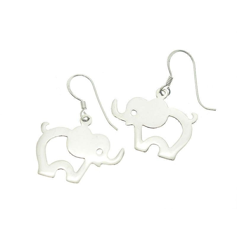 Sterling Silver Elephant Cut-Out Earrings