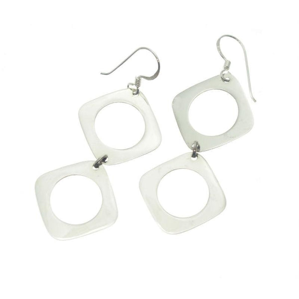 Sterling Silver Diamond Circle Earrings