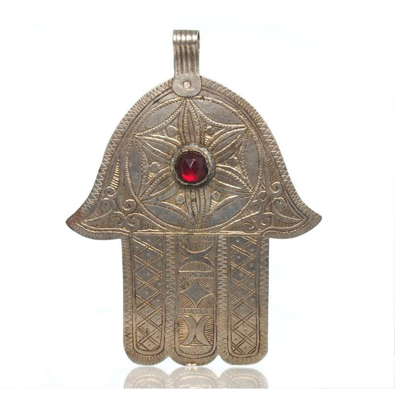 Essaouira Hamsa with Rose with Six Petals w/ Red Glass Gem Seed of Life 1