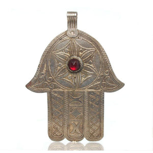 Moroccan Hamsa w/ Red Glass Gem and Engraving