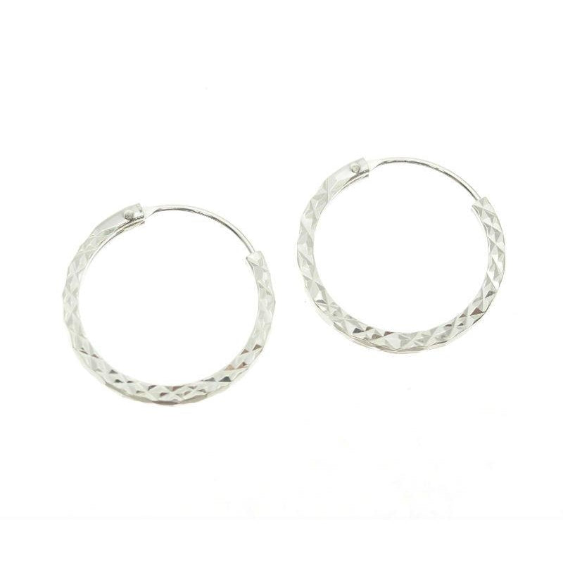 Etched 20mm Sterling Silver Hoop Earrings