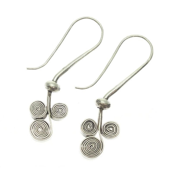 Three Scroll Swirl Sterling Silver Earrings