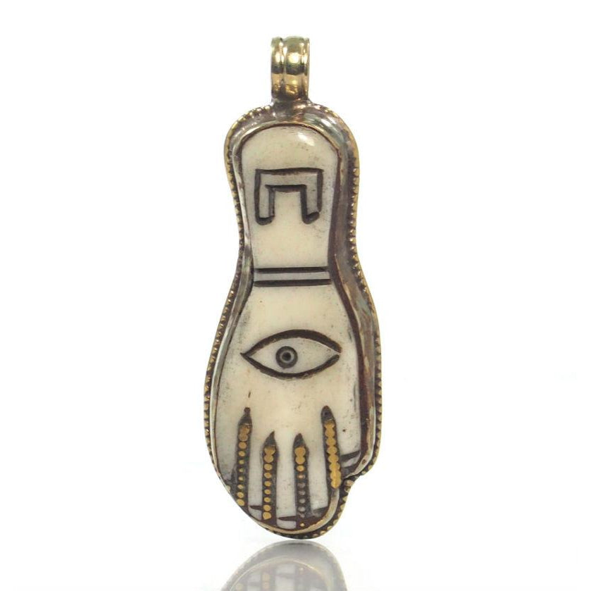 Hamsa Carved Cow Bone in Etched White Copper Sheath Pendant 1