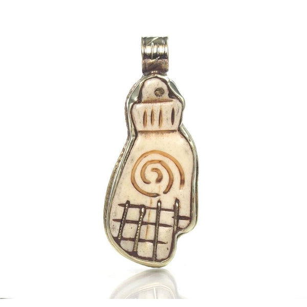 Hamsa Carved Cow Bone In Etched White Copper Sheath 1
