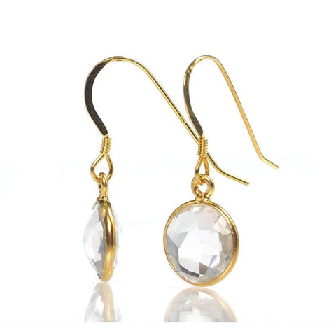 Crystal Quartz Earrings with Gold Plated French Ear Wires