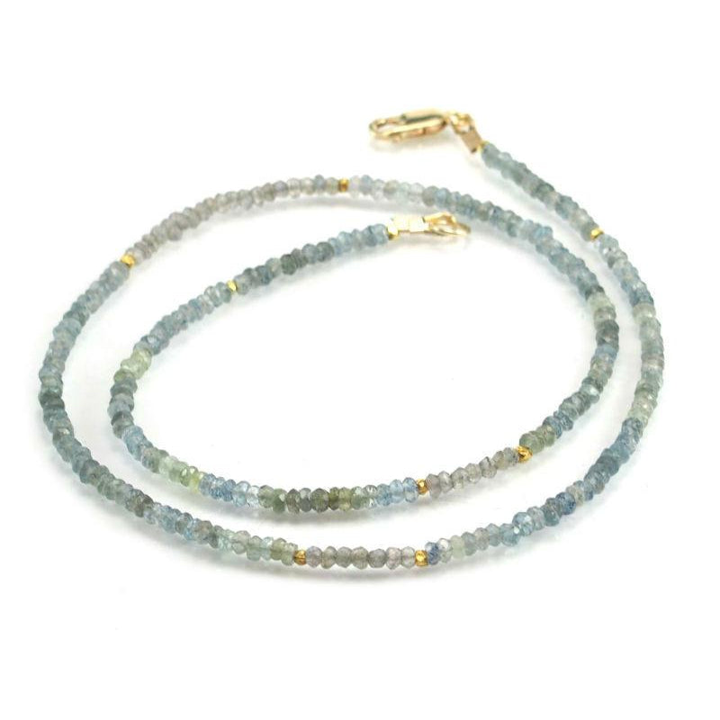 Aquamarine Necklace with Gold Filled Lobster Clasp