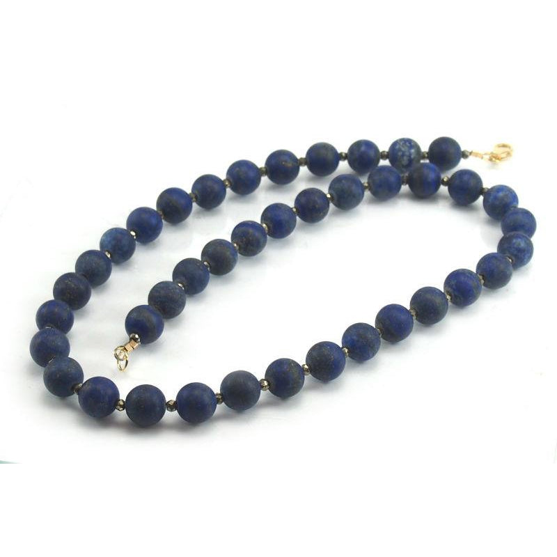 Lapis Lazuli Matte Necklace with Pyrite Spacers and Gold Filled Trigger Clasp