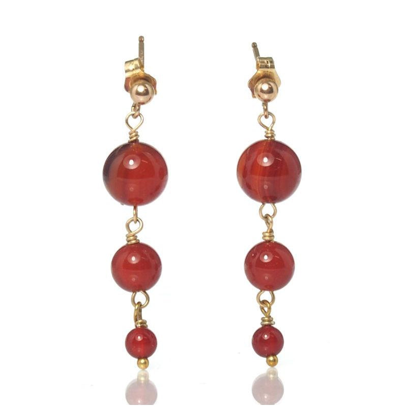 Carnelian Earrings with Gold Filled Post Ear Wires