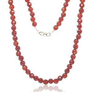 Carnelian Necklace with Sterling Silver Lobster Claw Clasp