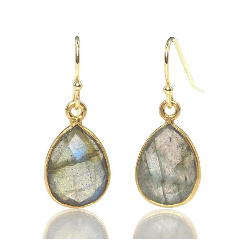 Labradorite Earrings with Gold Plated Ear Wires