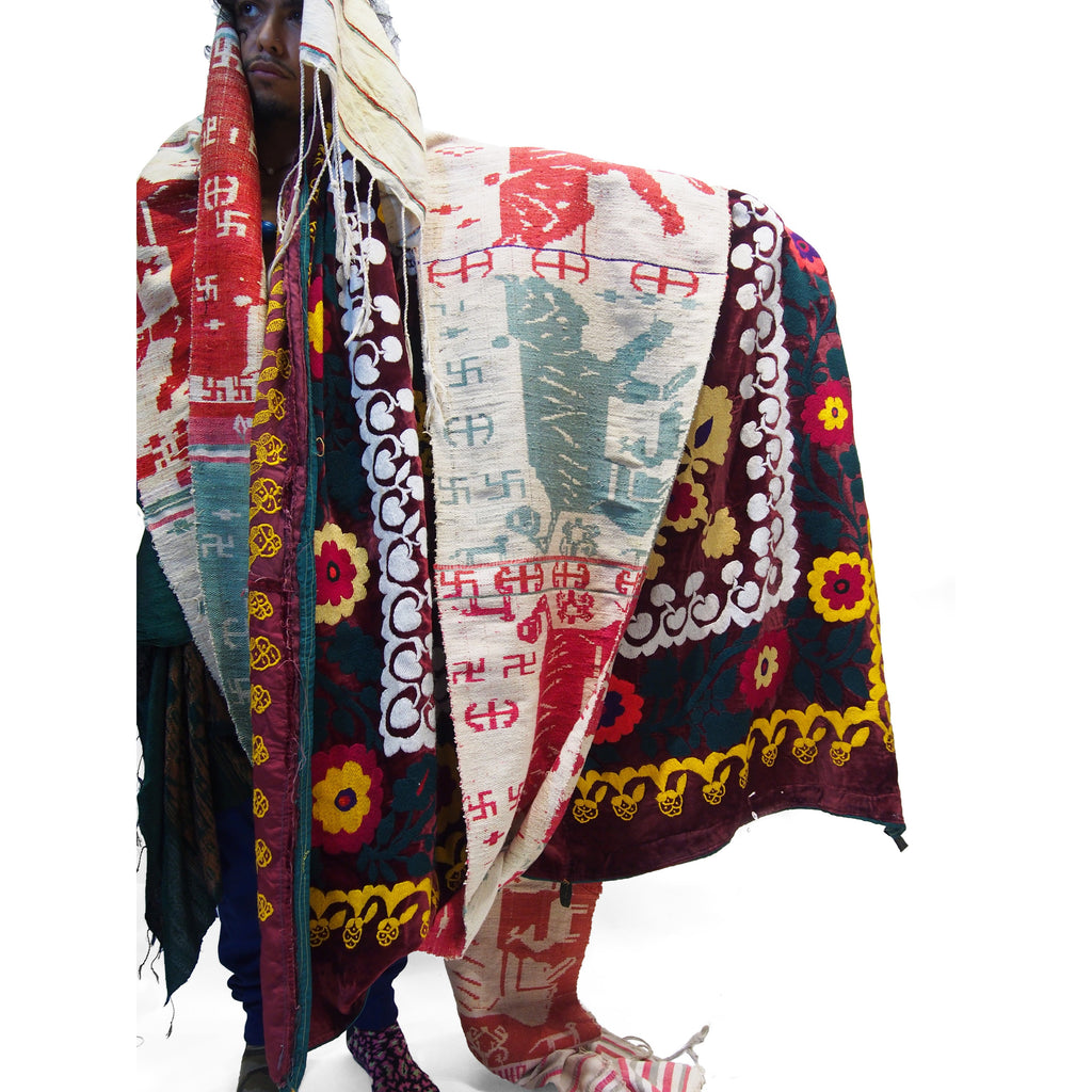 Ensemble 22: Vintage Shamanic Tiger Spirit Cloth with Suzani Cloth and Ikat Shawl - Each Item Sold Separately