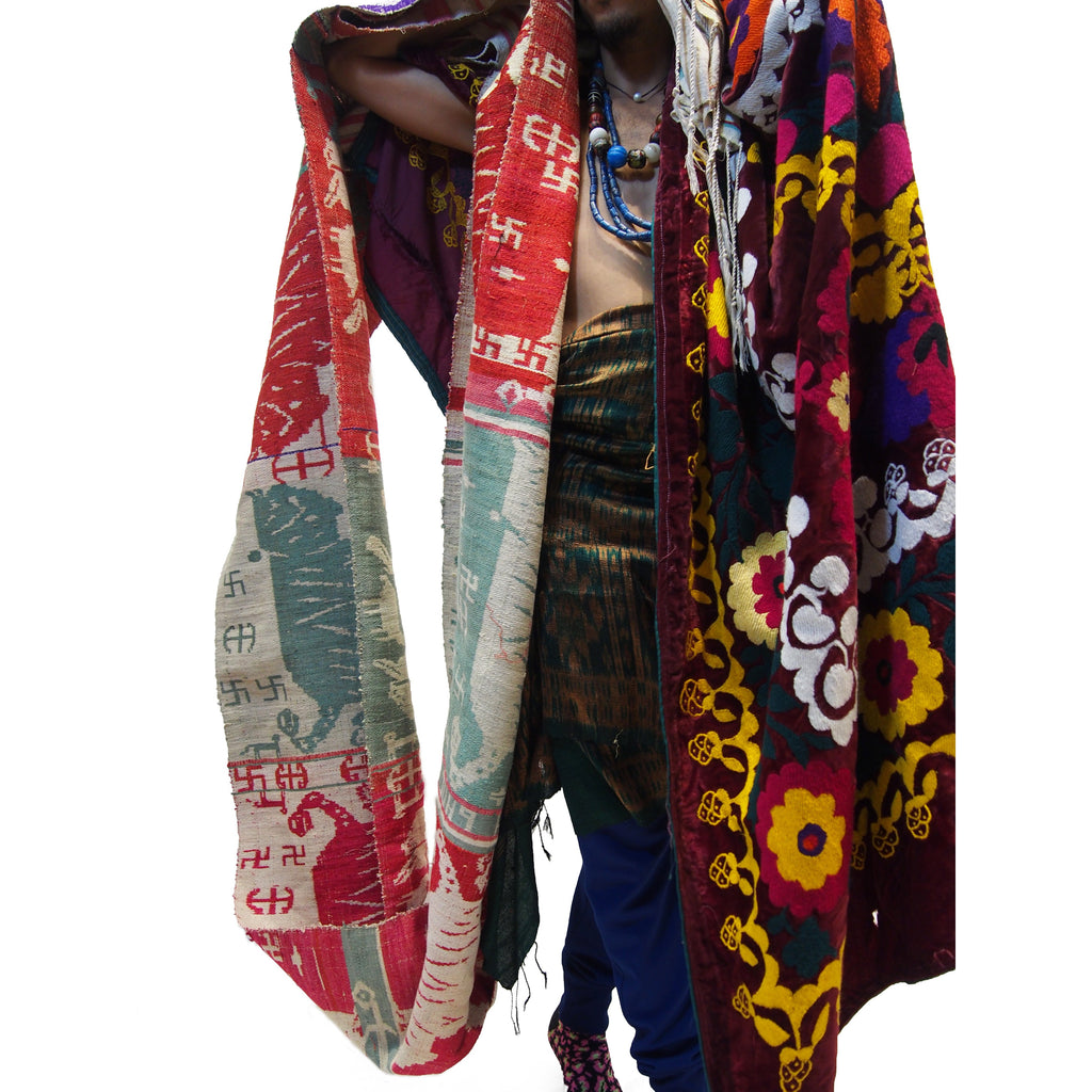 Ensemble 22: Vintage Shamanic Tiger Spirit Cloth with Suzani Cloth and Ikat Shawl