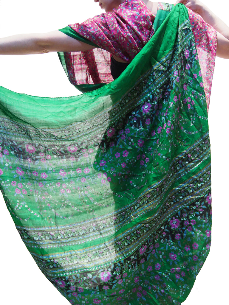 Ensemble 20: Rajasthan Vintage Heirloom Sari with Nepal Felted Wool Lotus Scarf - Each Item Sold Separately