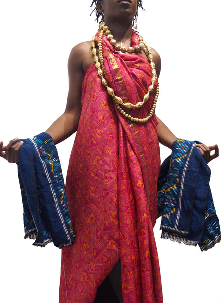 Ensemble 12: Vintage Rajasthan Sari with Floral Ikat Sarong from Bali, Indonesia with Gold Wash Copper Melon Heirloom Bead Strands from Nepal