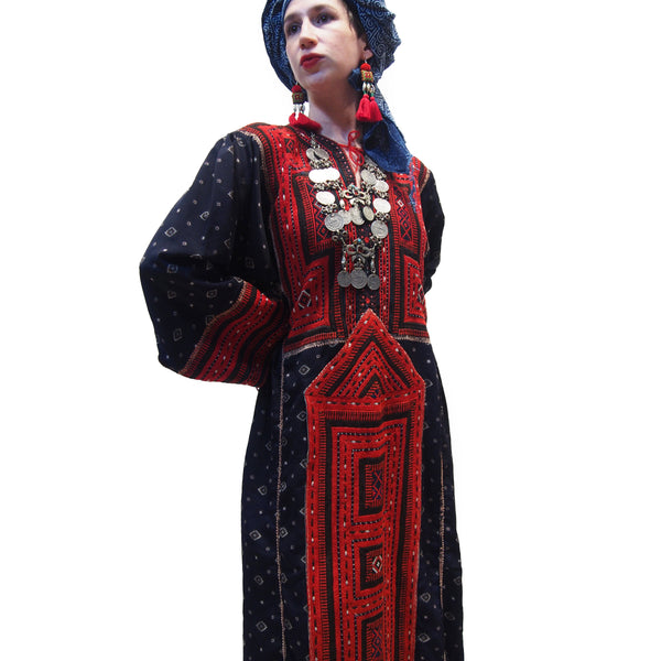 Ensemble 14: Afghanistan Vintage Embroidery Dress with Hmong Indigo Batik Wrap from Thailand - Each Item Sold Separately