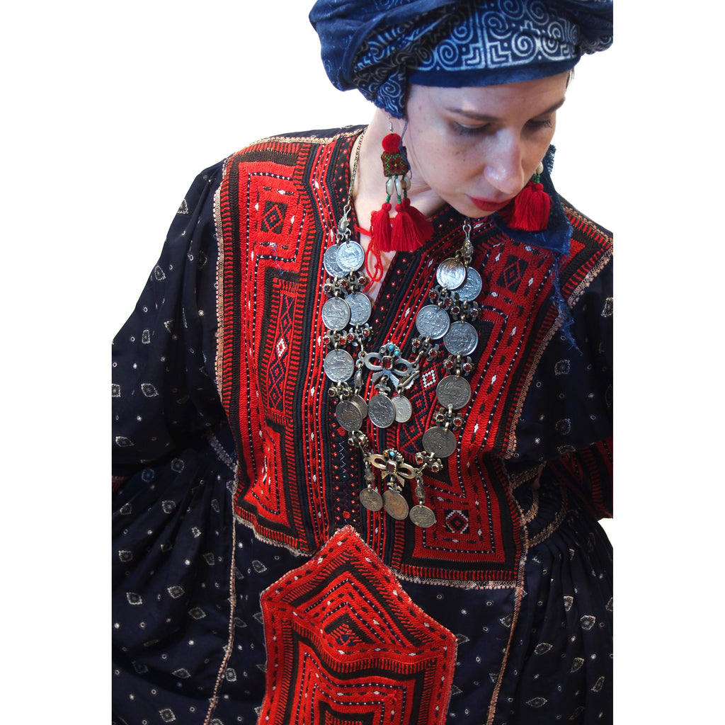 Ensemble 14: Afghanistan Vintage Embroidery Dress with Hmong Indigo Batik Wrap from Thailand