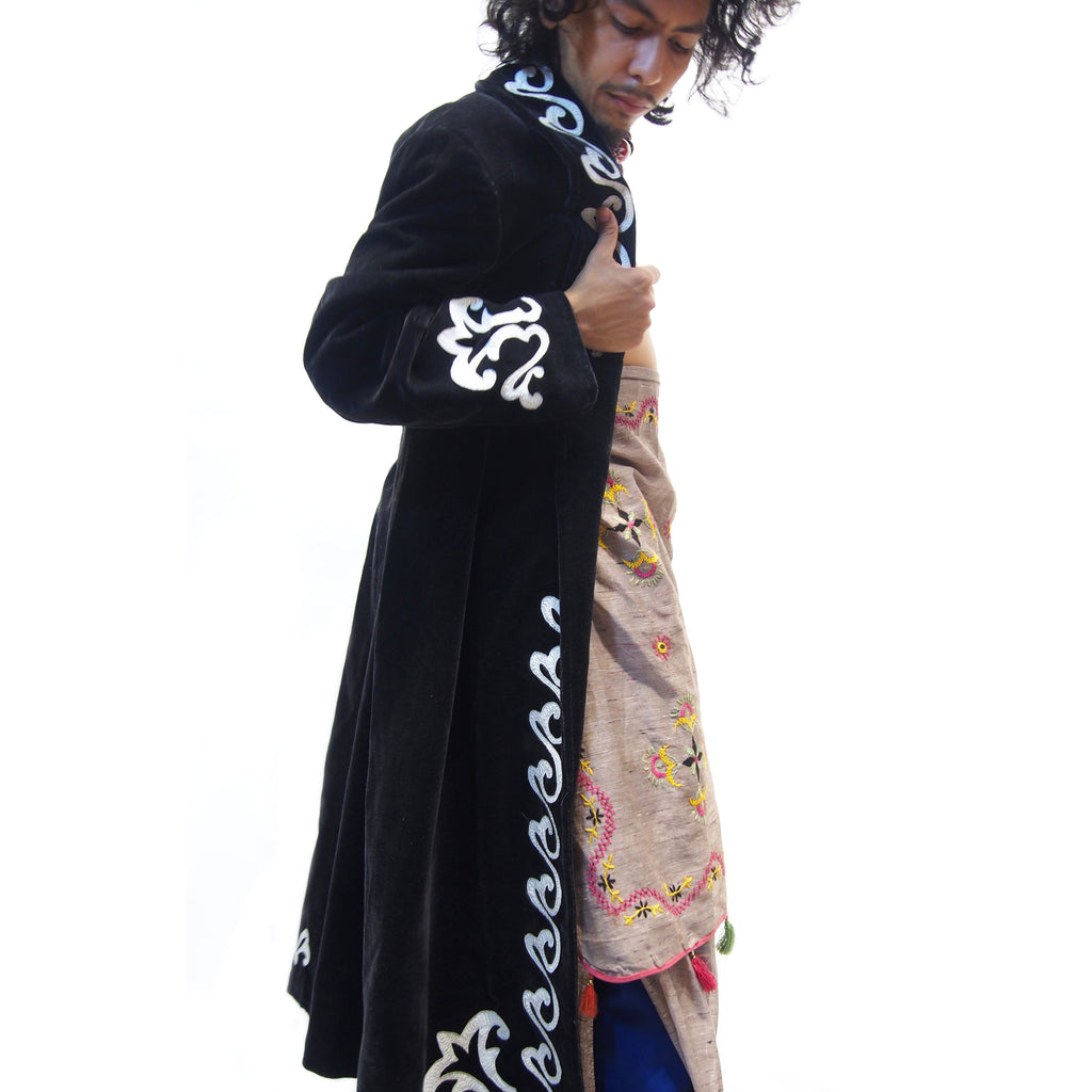 Ensemble 15: Uzbekistan Vintage Velvet Coat with Embroidery with Vintage Sari from Rajasthan - Each Item Sold Separately