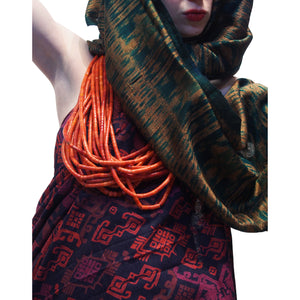 "Ensemble 11: Bali Printed Sarong from Indonesia with Thai 100% Silk Heirloom Ikat Shawl and Hand-cut ""Coral"" Glass Bead Strands Made in Czech Republic ca. 1920's as West African Trade Beads"