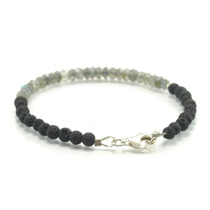 Labradorite and Lava stone Bracelet with Sterling Silver Trigger Clasp