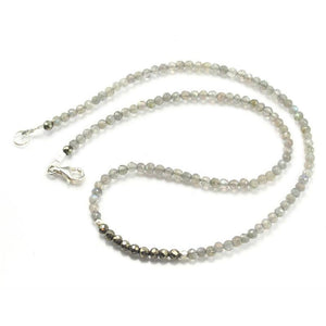 Labradorite and Pyrite Necklace with Sterling Silver Trigger Clasp